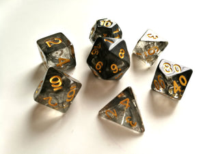 Smoke with Gold Ink Translucent Dice Set