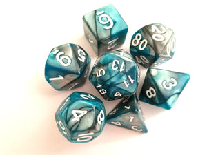 Teal/Steel Dual Colour Dice Set