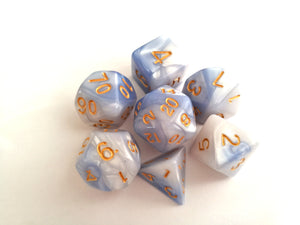 Blue/White Dual Colour Dice Set