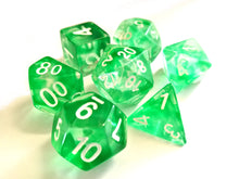 Green Mist with White Ink Translucent Swirl Dice Set