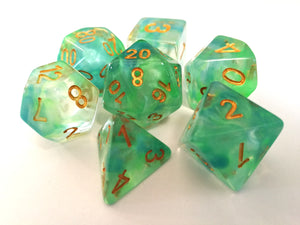 Green/Blue Colour Drop Translucent Dice Set