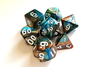 Teal/Copper Dual Colour Dice Set