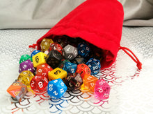 Large Dice Bag - Plain Red Suede