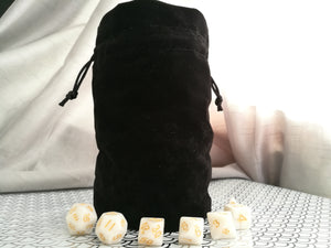 Large Dice Bag - Plain Black Suede