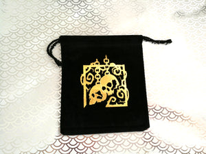 Golden Skulls on Black Suede - Mid-sized Dice Bag