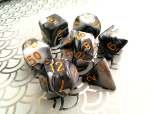 White/Black Dual Colour Dice Set