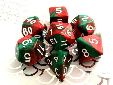 Red/Green Dual Colour Dice Set - Bescon