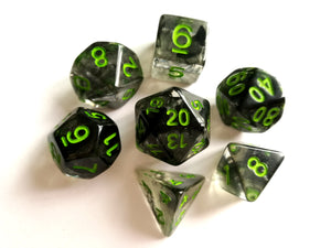 Smoke with Green Ink Translucent Dice Set