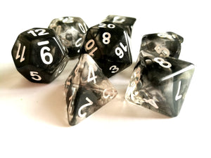 Smoke with White Ink Translucent Dice Set