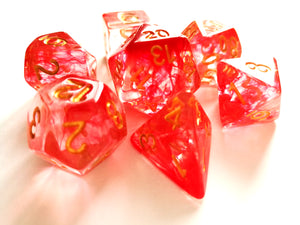 Red Mist with Gold Ink Translucent Swirl Dice Set