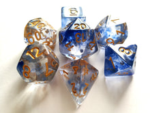Blue Mist with Gold Ink Translucent Swirl Dice Set
