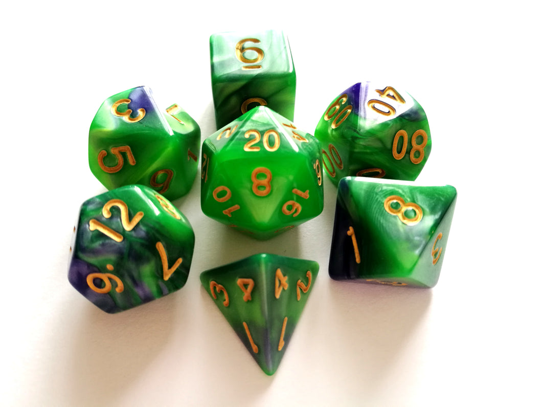 Green/Purple Dual Colour Dice Set