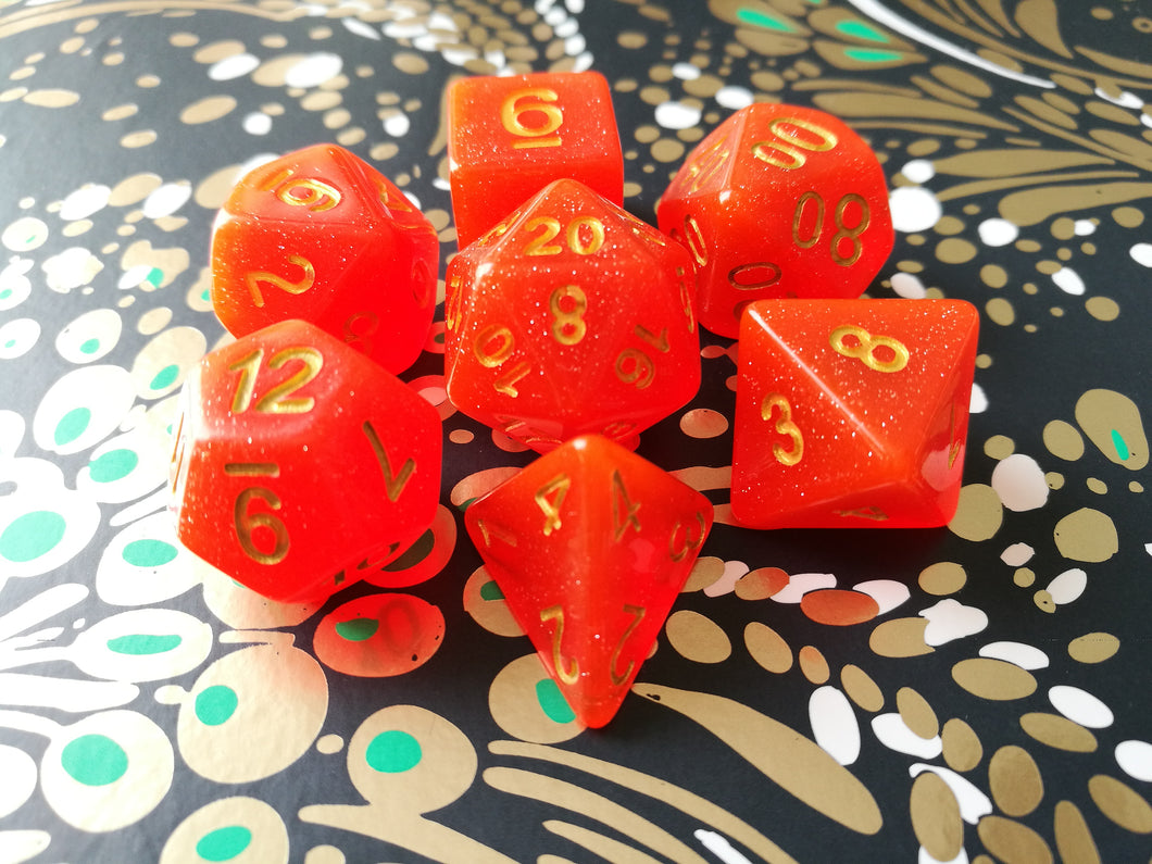 Royal Red Intense Glitter Dice Set - Bescon