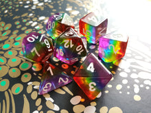 Vibrant Translucent Rainbow Layered Dice Set