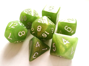 Green Shimmer Dice Set