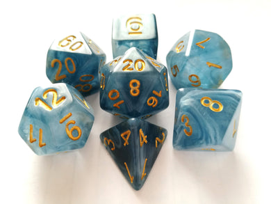Blue Jade Dice Set