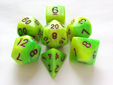 Green/Yellow Dual Colour Dice Set with Purple Ink