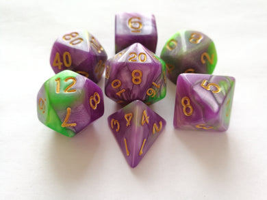 Purple/Green Dual Colour Dice Set
