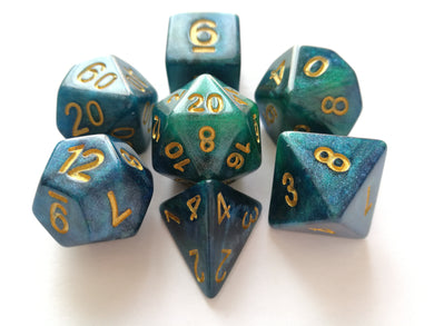 Peacock Galaxy Dice Set