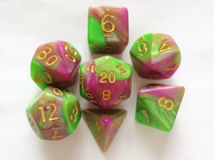 Rose/Green Dual Colour Dice Set