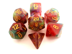 Red/Green/Blue Colour Drop Translucent Dice Set
