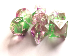 Green/Purple Colour Drop Dice Set