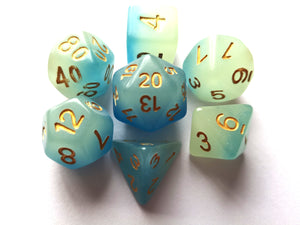 Blue Dual Coloured Glow in the Dark Dice Set