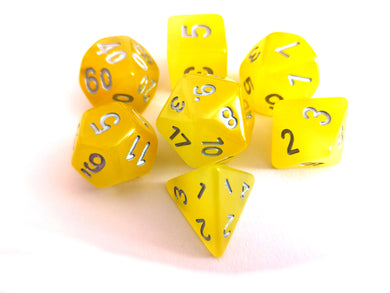 Yellow Dual Coloured Glow in the Dark Dice Set