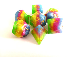 Neon Rainbow Layered Dice Set