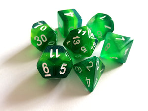 Envious Green Layered Translucent Dice Set