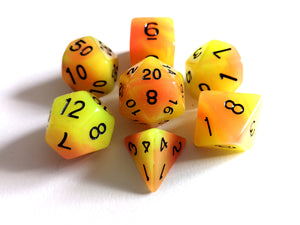 Yellow/Orange Dual Coloured Glow in the Dark Dice Set