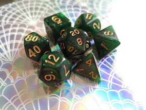 Green/Black Galaxy Dice Set