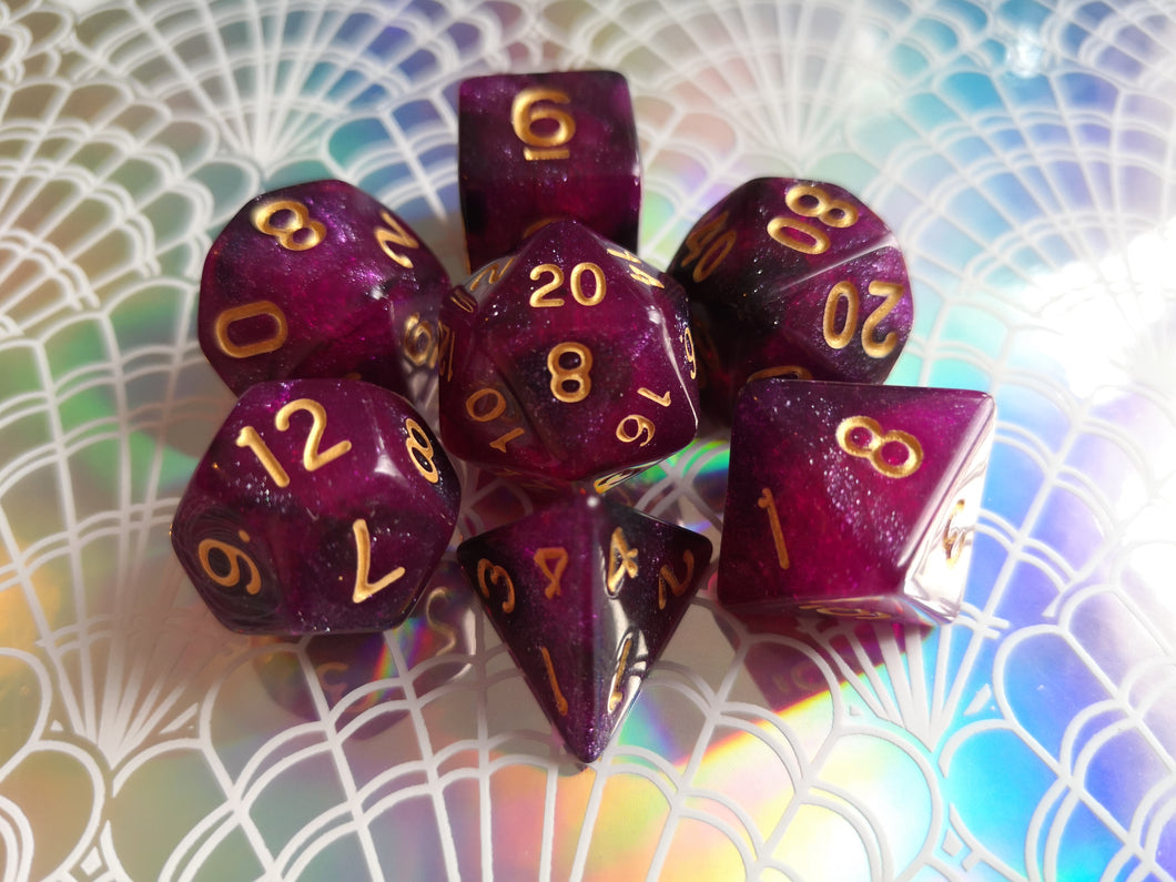 Purple/Black Galaxy Dice Set