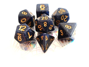 Golden Midnight Blue Galaxy Dice Set