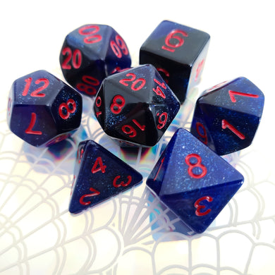 Blue/Black w/Red Space Dice Set