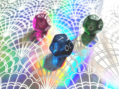 Translucent Astrology Dice Set, Glittery Dice