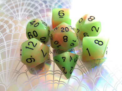 Green/Orange Dual Coloured Glow in the Dark Dice Set