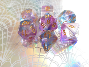 Purple/Blue Colour Drop Dice Set