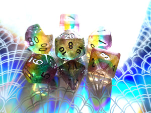 Translucent Glittery Rainbow Layered Dice Set
