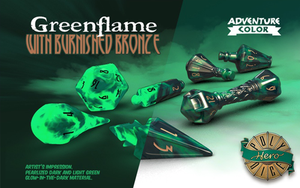 Greenflame (Glow in the Dark) - Wizard Dice - Polyhero