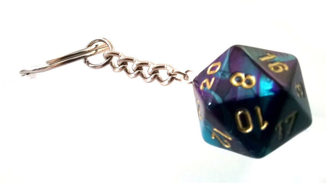 Gemini Purple/Teal D20 Keyring