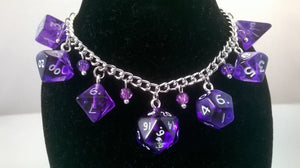 Purple Gem Mini Polyhedral Dice Charm Bracelet