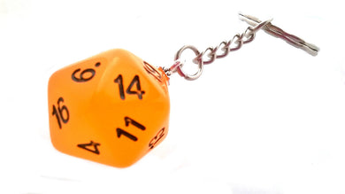 Glow in the Dark Frost Orange D20 Keyring