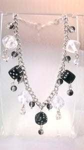 Clear & Black Dice Charm Bracelet