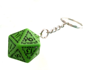 Green with Black Ink Runic D20 Keyring