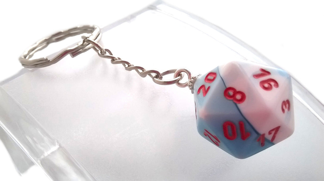 Gemini Astral Blue/White D20 Keyring
