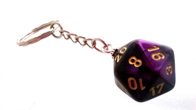 Gemini Purple/Black D20 Keyring