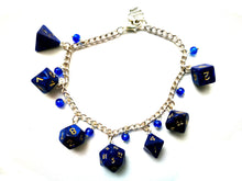 Blue Interferenz Mini Polyhedral Dice Charm Bracelet