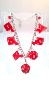 Red Gem Mini Polyhedral Dice Charm Bracelet