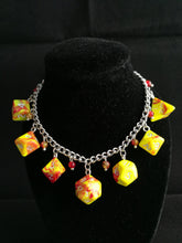 Ooze Red/Yellow Mini Polyhedral Dice Charm Bracelet